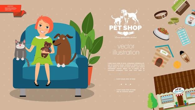 Plantilla plana para el cuidado de mascotas vector gratuito