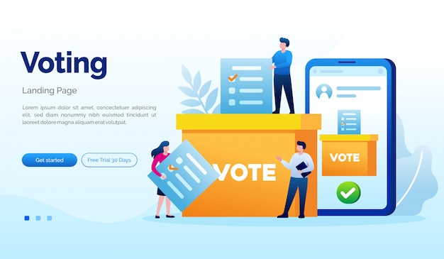 Plantilla plana de votación elección página de inicio de página web Vector Premium