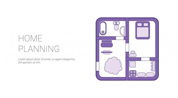 Plantilla de planificación del hogar web banner Vector Premium