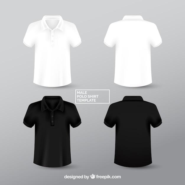 Plantilla de polo masculino blanco y negro Vector Premium