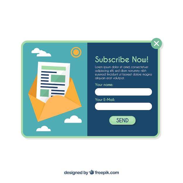 Plantilla de pop up de suscripción con diseño plano vector gratuito