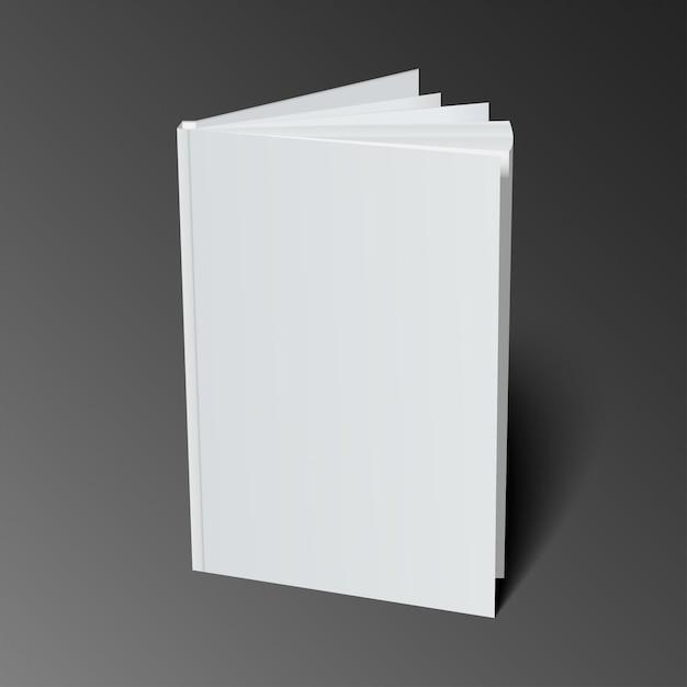 Plantilla de portada de libro en blanco con páginas en