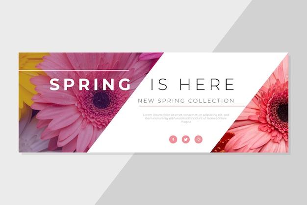 Plantilla de portada de primavera de facebook vector gratuito