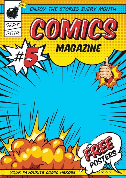Plantilla de portada de revista cómica vector gratuito
