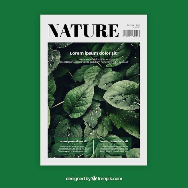 Plantilla De Portada De Revista De Naturaleza Con Foto Vector Gratis