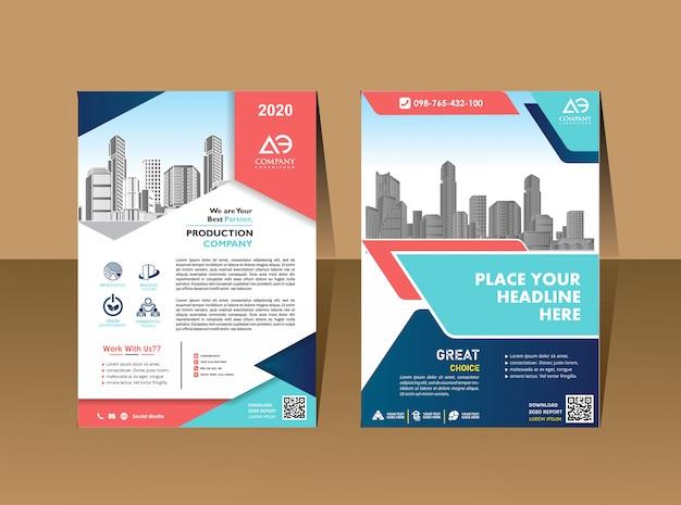 Plantilla de portada tamaño a4 diseño de folleto comercial portada del informe anual Vector Premium