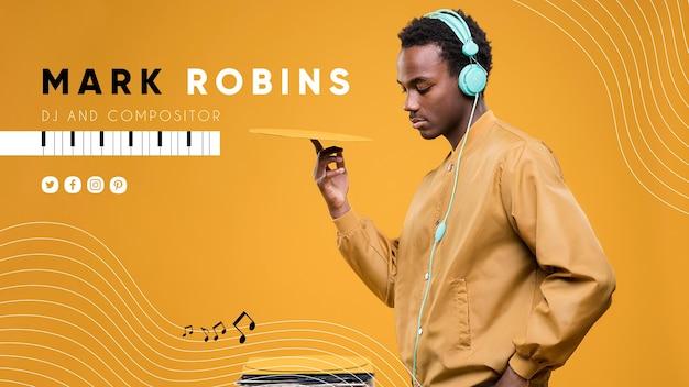 Plantilla de portada de youtube de música vector gratuito