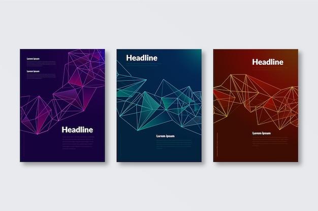 Plantilla de portadas de formas geométricas abstractas vector gratuito