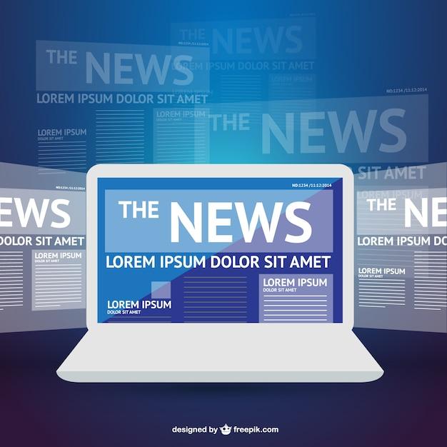 Plantilla de portátil con noticias vector gratuito