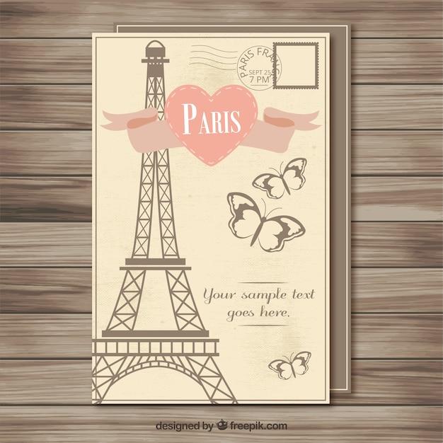Plantilla De Postal Vintage De París Vector Premium