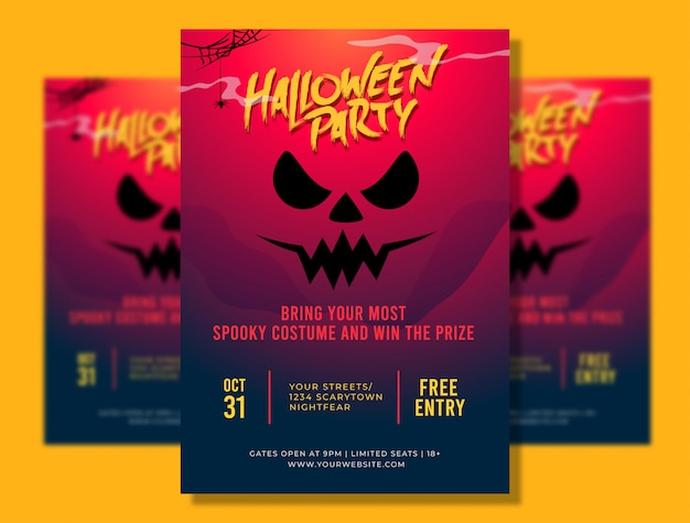 Plantilla de póster a4 de fiesta de halloween con ilustración de cara espeluznante Vector Premium