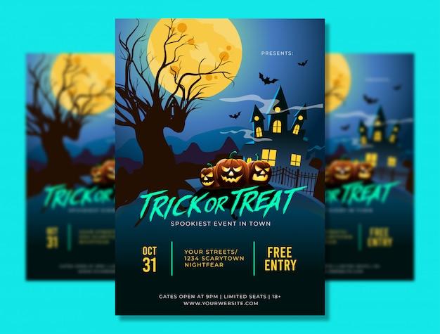 Plantilla de póster a4 de fiesta de halloween con lugar aterrador y calabazas Vector Premium