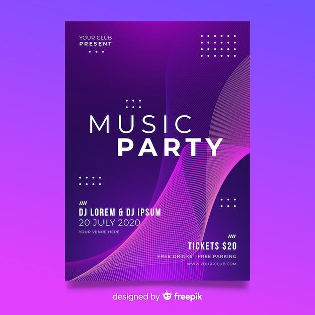 Plantilla de póster abstracto de música electrónica vector gratuito