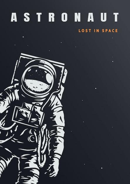 Plantilla de póster de astronauta vintage vector gratuito