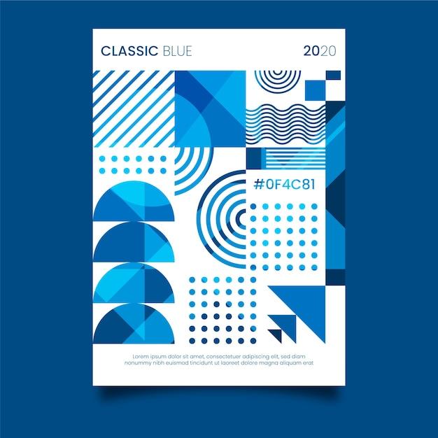 Plantilla de póster azul clásico vector gratuito