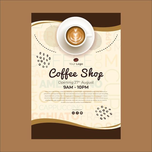 Plantilla de póster para cafetería vector gratuito