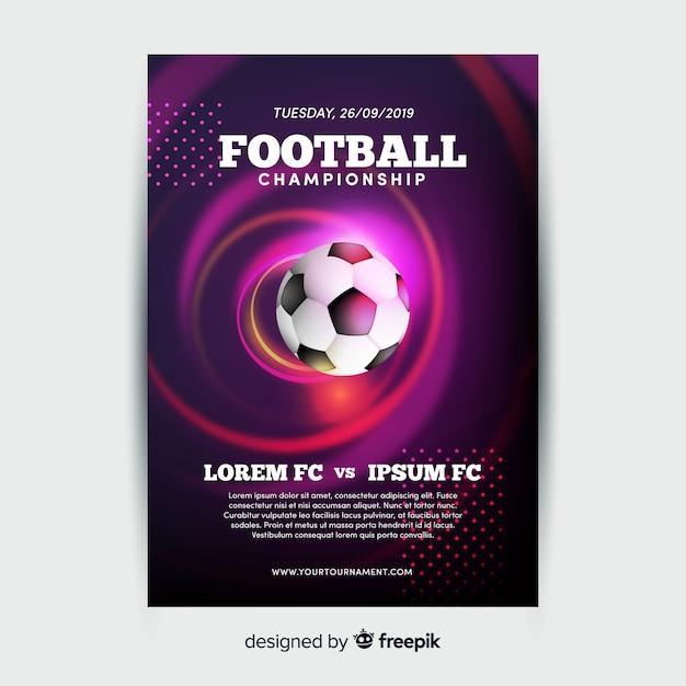 Plantilla de póster de campeonato de fútbol vector gratuito