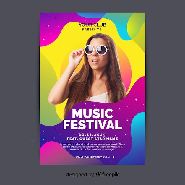 Plantilla de póster colorido abstracto de festival de música con foto vector gratuito