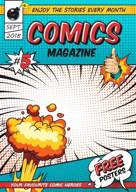 Plantilla de póster de cómics vector gratuito