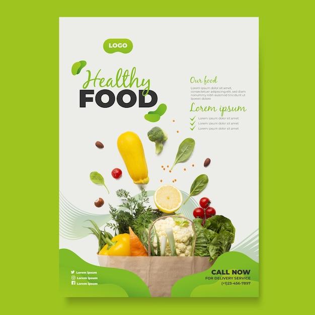 Plantilla de póster de comida saludable vector gratuito