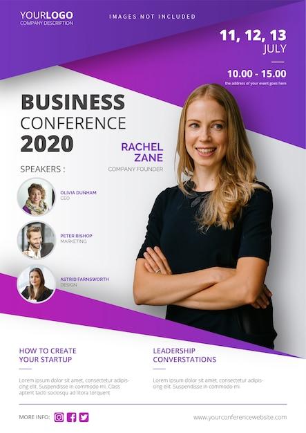 Plantilla de póster de conferencia de negocios vector gratuito
