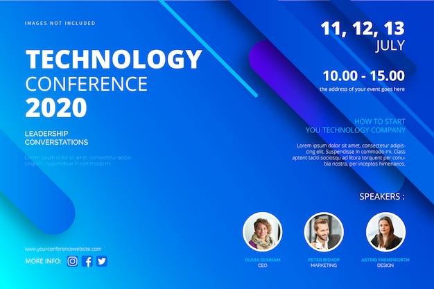 Plantilla de póster de conferencia de tecnología vector gratuito
