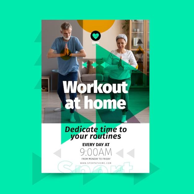 Plantilla de póster de deporte en casa vector gratuito