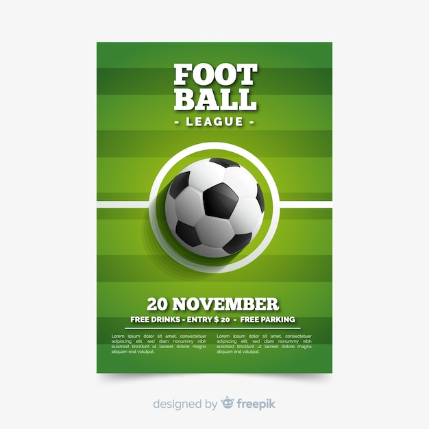 Plantilla de póster de deporte con pelota de fútbol Vector Premium