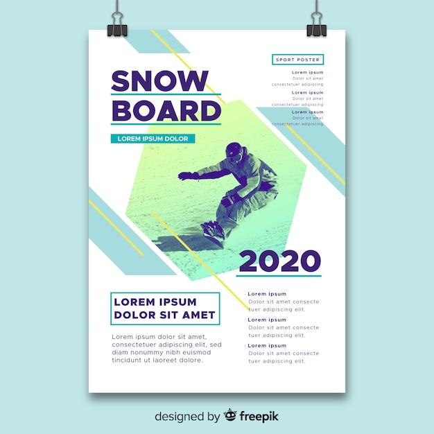 Plantilla de póster deportivo con foto de claroscuro vector gratuito