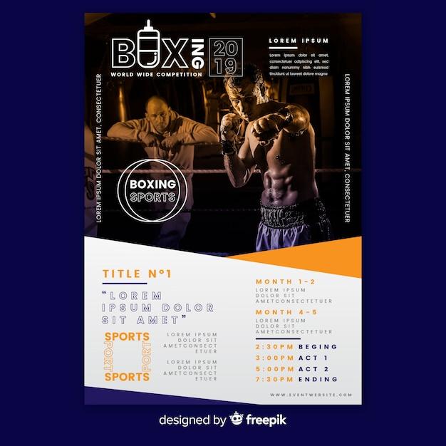 Plantilla de póster deportivo con hombre en el gimnasio vector gratuito