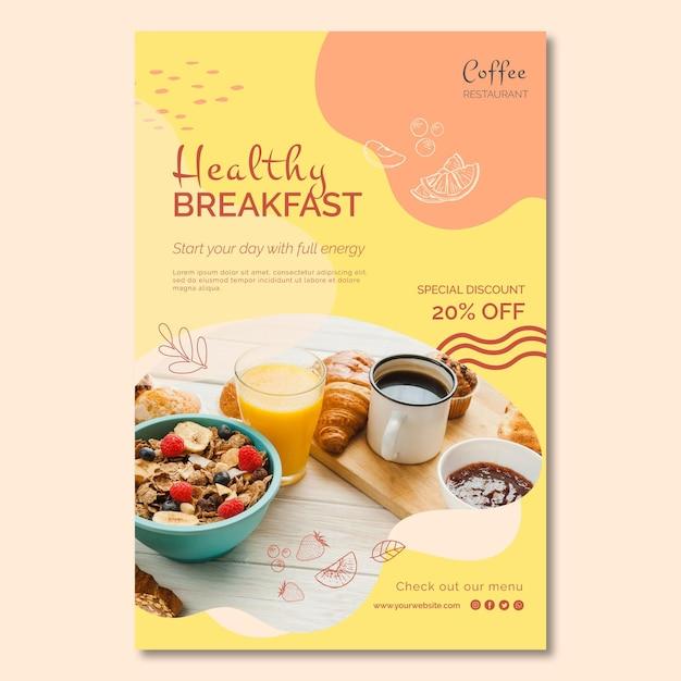 Plantilla de póster de desayuno saludable Vector Premium