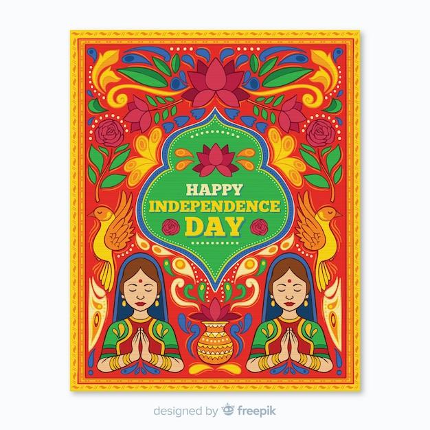 Plantilla de poster del dia de independencia de la india vector gratuito
