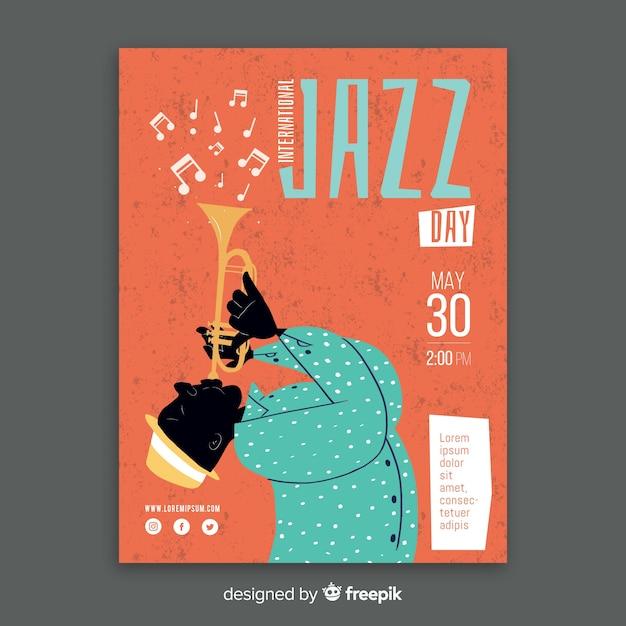 Plantilla de poster del día internacional del jazz dibujado a mano vector gratuito