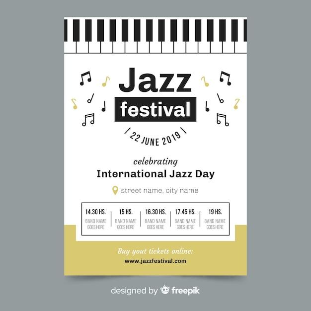 Plantilla de poster del día internacional del jazz en diseño plano vector gratuito