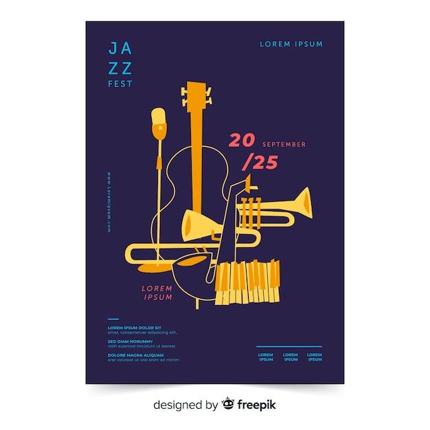 Plantilla de poster del día internacional del jazz vector gratuito