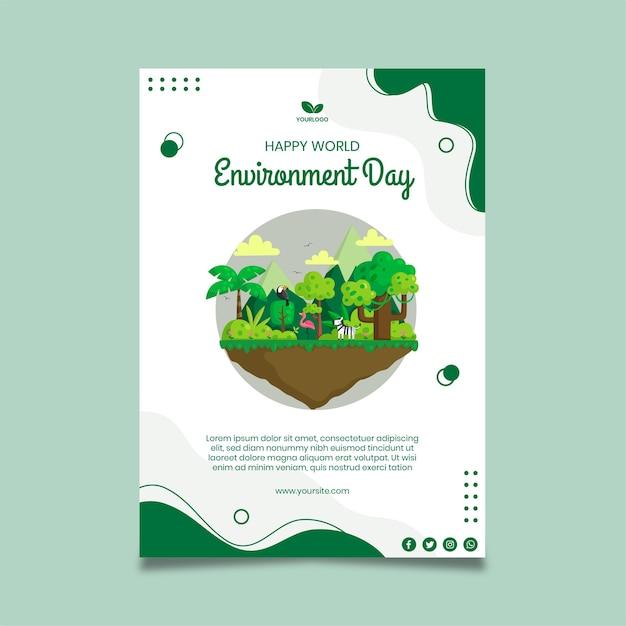 Plantilla de póster del día del medio ambiente vector gratuito