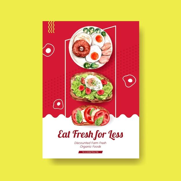 Plantilla de póster con diseño de alimentos saludables y orgánicos. vector gratuito