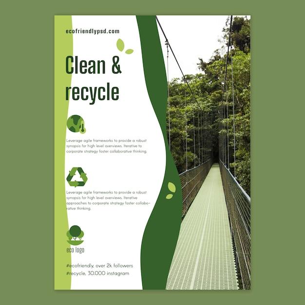 Plantilla de póster de ecología vector gratuito