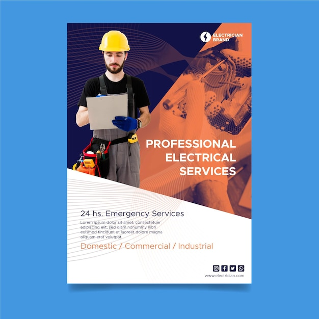 Plantilla de póster de electricista vector gratuito