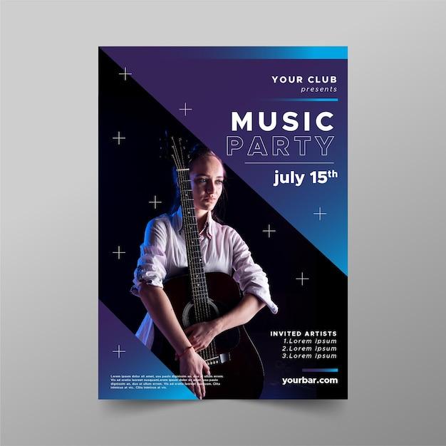 Plantilla de póster de evento de guitarra acústica vector gratuito