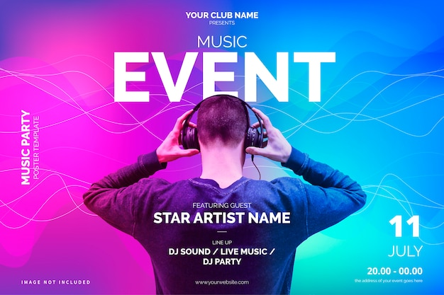 Plantilla de póster de evento de música moderna vector gratuito