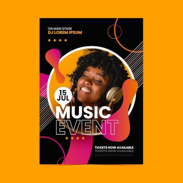 Plantilla de póster de evento musical con foto vector gratuito