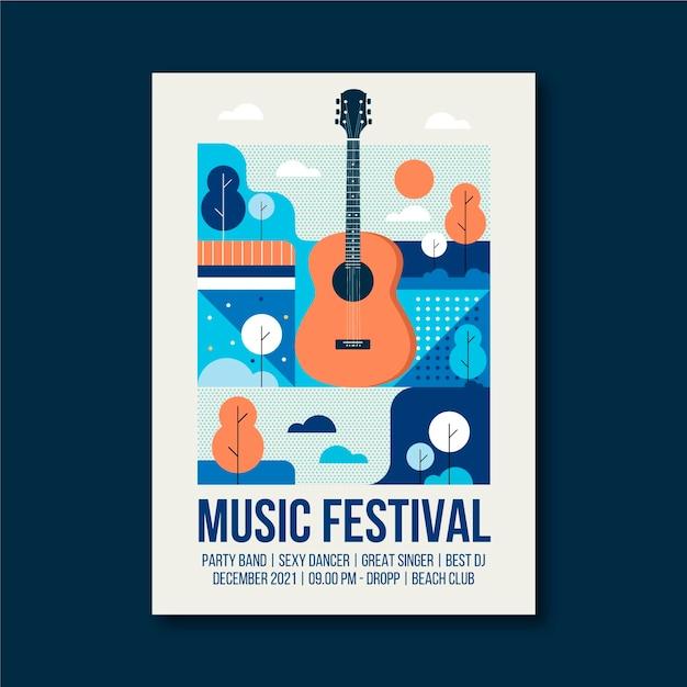 Plantilla de póster de evento musical ilustrado de guitarra vector gratuito