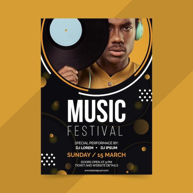 Plantilla de póster de evento musical vector gratuito