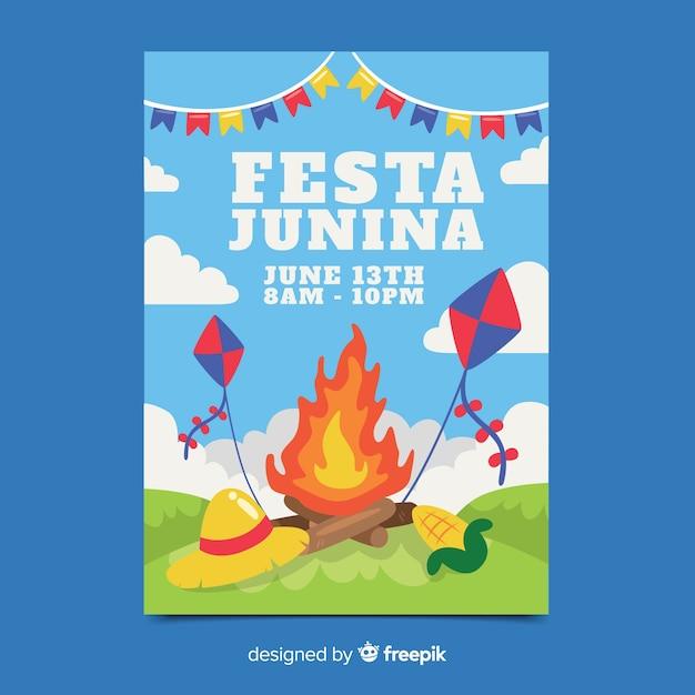 Plantilla de poster de festa junina dibujado a mano vector gratuito