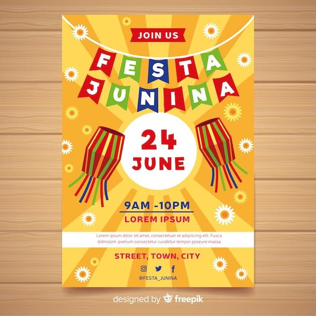 Plantilla de poster de festa junina en diseño plano vector gratuito