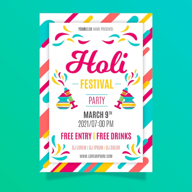 Plantilla de póster del festival holi en diseño plano vector gratuito