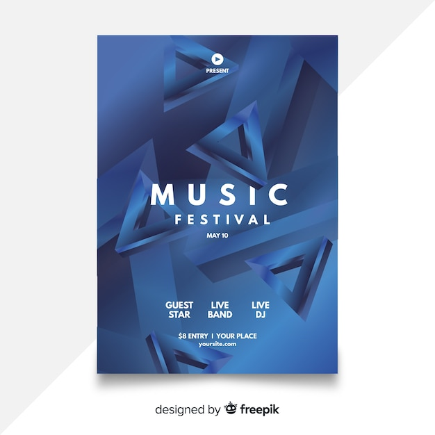 Plantilla de poster de festival de música abstracta vector gratuito