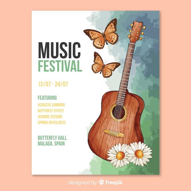 Plantilla de poster de festival de música en acuarela vector gratuito