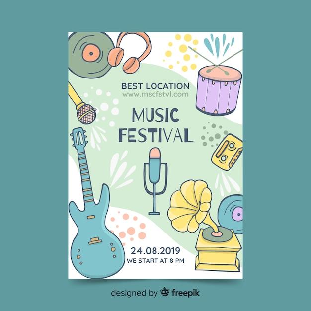 Plantilla de poster de festival de música dibujada a mano vector gratuito